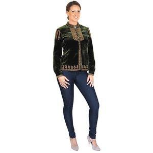 Eileen West Green Velvet Embroidered Jacket